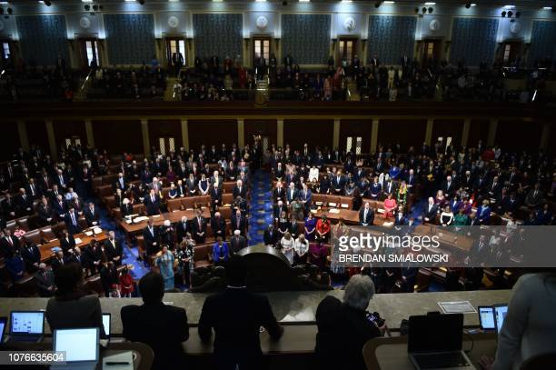 Members of Congress arrive before the start of the 116th Congress and swearing-in ceremony on the floor of the US House of Representatives at the US...