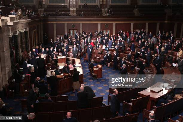 Members of Congress gather in the House Chamber during a joint session of Congress on January 06, 2021 in Washington, DC. Congress held a joint...