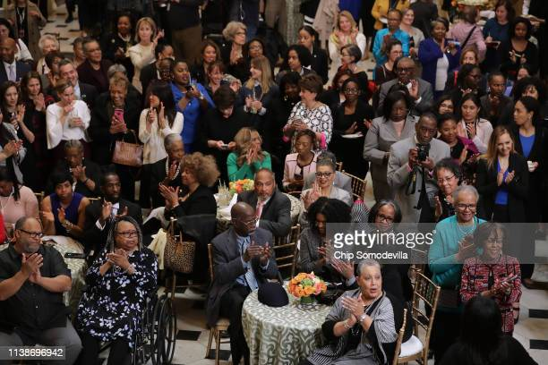 Members of Congress guests and family members attend an event honoring NASA's 'Hidden Figures' AfricanAmerican women mathematicians who helped the...