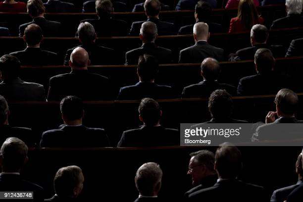 Members of Congress listen as US President Donald Trump not pictured delivers a State of the Union address to a joint session of Congress at the US...