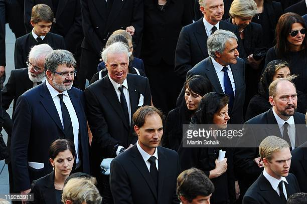 Members of cortege make their way through the historic downtown districts during the funeral ceremony for Otto von Habsburg on July 16 2011 in Vienna...