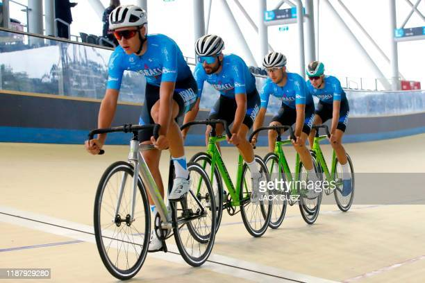 Members of cycling team Israel StartUp Nation are pictured during a training session in the Sylvan Adams National Velodrome on December 10 2019 in...