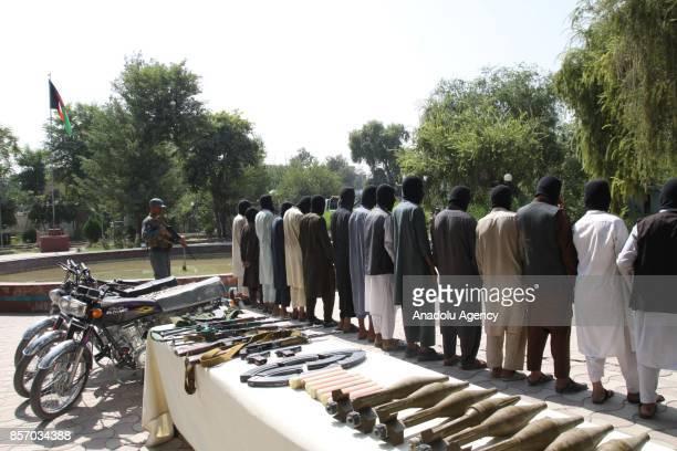 10 members of Daesh and 5 members of Taliban are seen unarmed as they captured by Afghan authorities in Nangarhar Afghanistan on October 3 2017