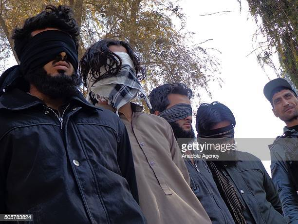 4 members of Daesh are seen unarmed as they captured by Afghan authorities in Nangarhar Afghanistan on January 20 2016