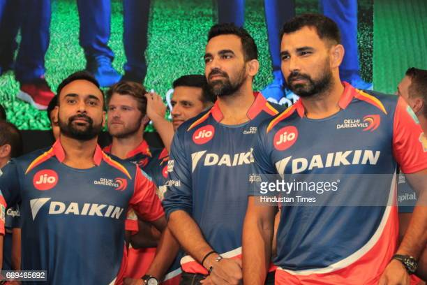 Members of Delhi Daredevils team [LR] Amit Mishra Zaheer Khan and Mohammed Shami at a party hosted by Daikin to celebrate the three years of...