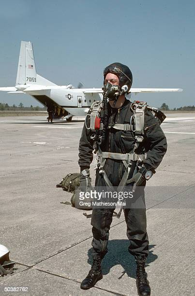 Members of Delta Force part of US Special Operations preparing to conduct HALO training which involves parachuting at an altitude which requires...
