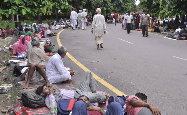 Members Of Dera Sacha Sauda arrive for the support of Dera Chief Sant Gurmeet Ram Rahim Singh as the hearing of Sadhavi rape and murder case will be..