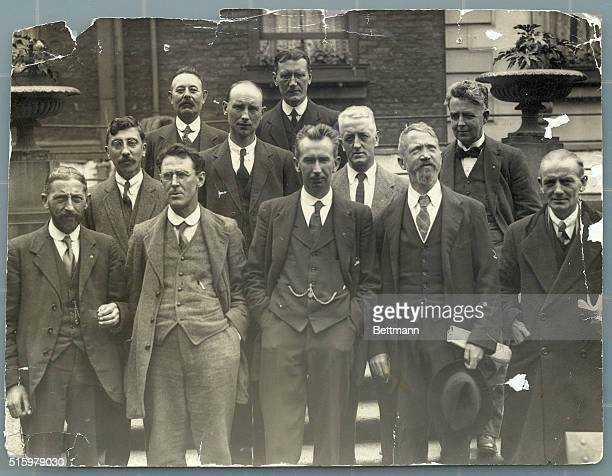 Members of Dial Eireann on their arrival from the internment camp Dublin Front row Joseph McGuiness S Doyle Finian Lynch WM Sears Sean Milroy Second...