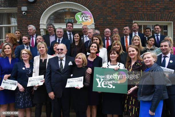 Members of different Irish political parties pose together during 'Together for Yes' photocall the National Civil Society Campaign to remove the...