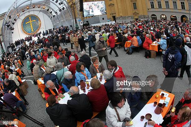 Members of different religious communities celebrate Greek orthodox vespers during day 3 of the 2nd Ecumenical Church Day at Odeonsplatz square on...