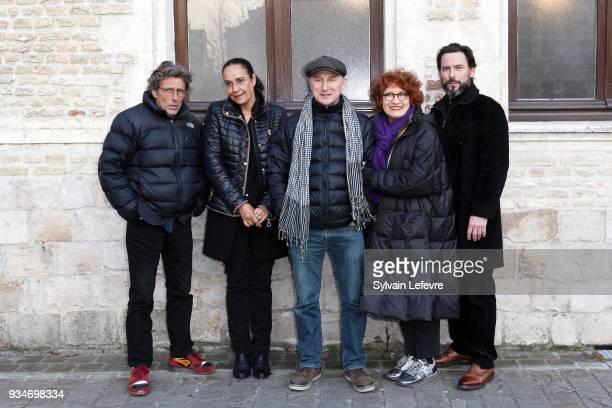 Members of documentary jury Nils Tavernier Fabienne Godet Karim Dridi Andrea Ferreol and Sagamore Stevenin pose during Valenciennes Film festival Day...