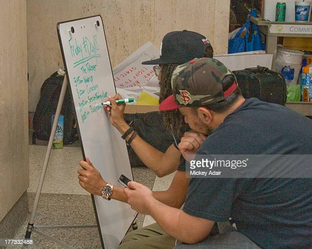 Members of Dream Defenders prepare the next day schedule of events at the Florida Capitol