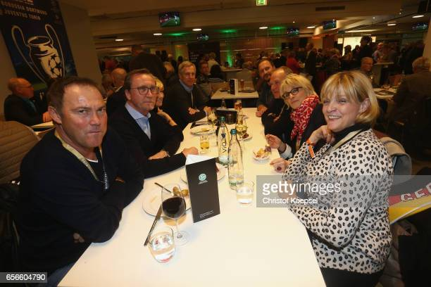Members of Dynamo Dresden and BFC Dynamo Berlin pose during the Club of Former National Players Meeting at Signal Iduna Park on March 22 2017 in...