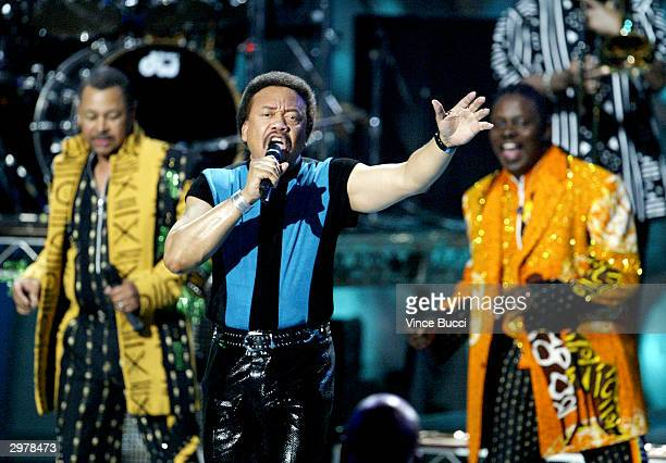 Members of Earth Wind and Fire perform onstage during the Rewarding Life of Earvin Johnson tribute presented by American Express on February 12 2004...