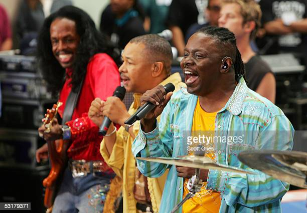 Members of Earth, Wind & Fire and Chicago Verdine White, Ralph Johnson and Philip Bailey perform during the 10th Anniversary of the Toyota Concert...