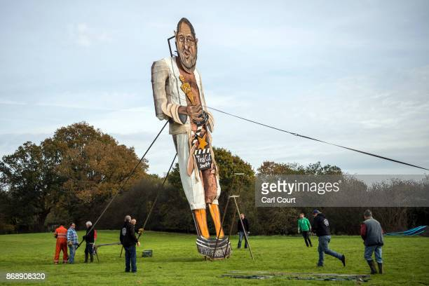 Members of Edenbridge Bonfire Society unveil an effigy of film producer Harvey Weinstein who is this year's 'Celebrity Guy' on November 1 2017 in...