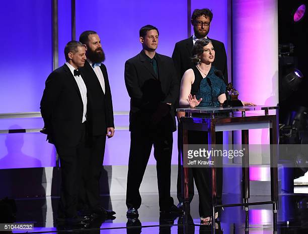 Members of Eighth Blackbird accept the award for Best Chamber Music/Small Ensemble Performance for 'Filament' onstage during The 58th GRAMMY Premiere...