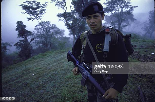 Members of El Salvadoran Army's special unit Cutzcatlan patrolling during sweep against leftist guerrillas