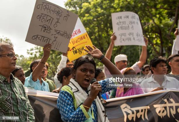 Members of Elgar Parishad protest outside collector office Bandra against the arrest of writer Sudhir Dhawale and four other social activists by the...
