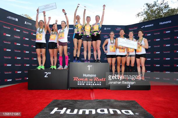 Members of Elite Team pose led by Anna Hudson, Julie Hartenbach and Alissa Kolarik of the Trois Femme Rapides after the Humana Rock 'n' Roll New...