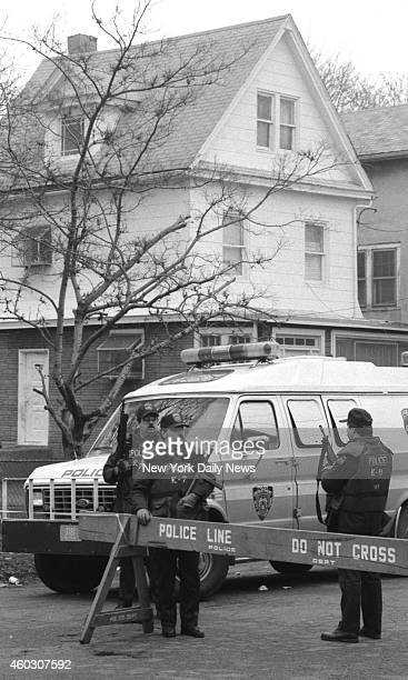 Members of Emergency Service police outside home of witness Arjune in Queens Two cops guard him night and day Cops flush with success over the...