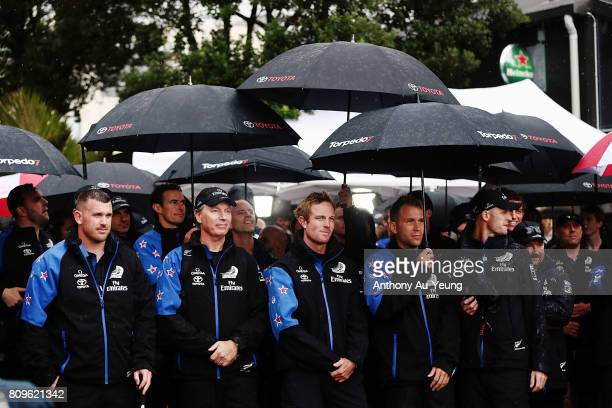 Members of Emirates Team New Zealand gather at the Market Square during the Team New Zealand Americas Cup Welcome Home Parade on July 6 2017 in...