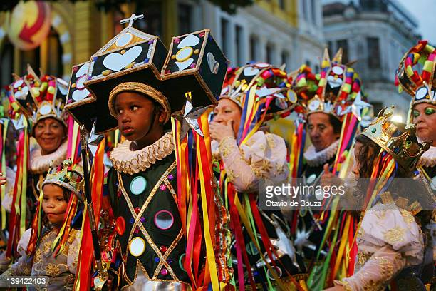Members of Encontro de Blocos dance during the parade in Recife Antigo on February 18 2011 in Recife Brazil Carnival is the biggest and most popular...