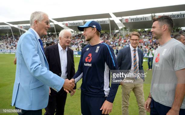 Members of England's greatest XI Bob Willis David Gower Joe Root Robert Hutton and James Anderson during day three of Specsavers 1st Test match...