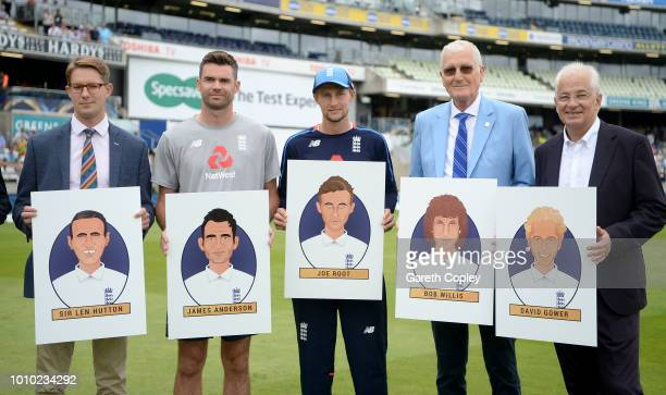Members of England's greatest XI pose from group picture Len Hutton James Anderson Joe Root Bob Willis and David Gower during day three of Specsavers...