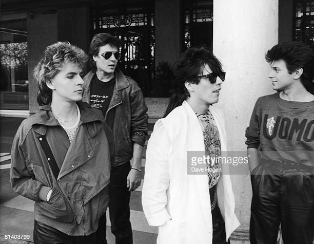 Members of English new romantic pop group Duran Duran circa 1985 Left to right Nick Rhodes Simon Le Bon Andy Taylor and Roger Taylor