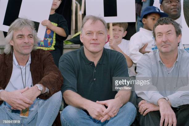 Members of English rock band Pink Floyd, from left, Richard Wright , David Gilmour and Nick Mason posed together in London on 12th October 1994 prior...
