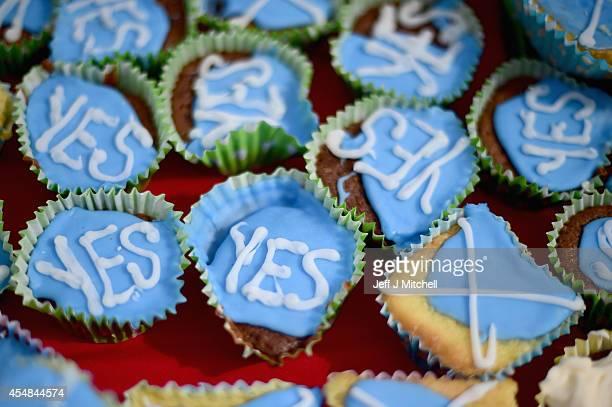 Members of English Scots for Yes hold a border tea party to celebrate the continuing open border between Scotland and England after a possible Yes...