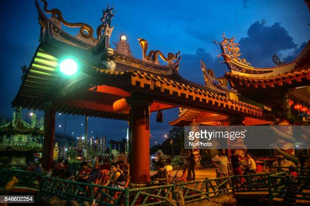 Members of ethnic Chinese are seen inside the chinese temple during the Hungry Ghost Festival in Teluk Pulai Klang Malaysia on September 13 2017...
