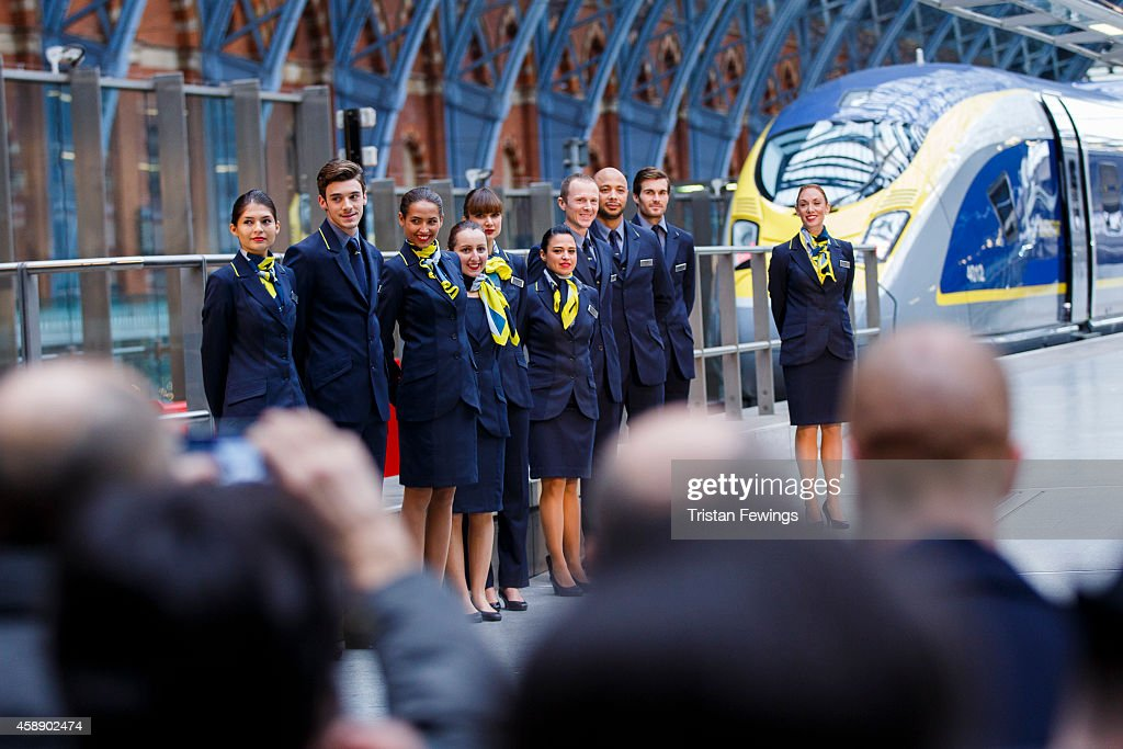 Members of Eurostar staff attend the unveiling Eurostar's brand new e320 fleet today complete with a live reveal of the train and special guests including Raymond Blanc and a catwalk show with 20 Eurostar staff at St Pancras Station on November 13, 2014 in London, England.