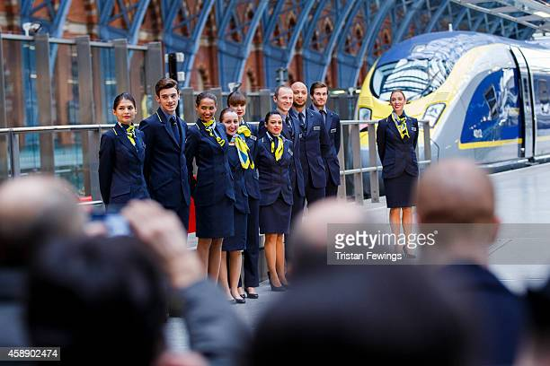 Members of Eurostar staff attend the unveiling Eurostar's brand new e320 fleet today complete with a live reveal of the train and special guests...