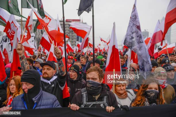 Members of far right wing conservative associations during the official march organized by the Polish government at Rondo Dmowskiego Days before the...