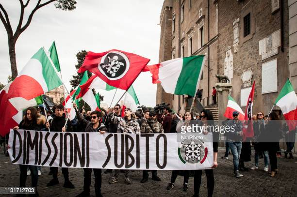 Members of farright movement CasaPound protest in Rome Italy on March 20 2019 demanding the resignation of Mayor of Rome Virginia Raggi after the...