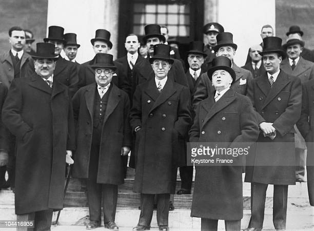 Members of Fascistrun countries with from left to right Milan STOJADINOVIC Yugoslavian Prime Minister Ioannis METAXAS Greek Minister of War Fatin...