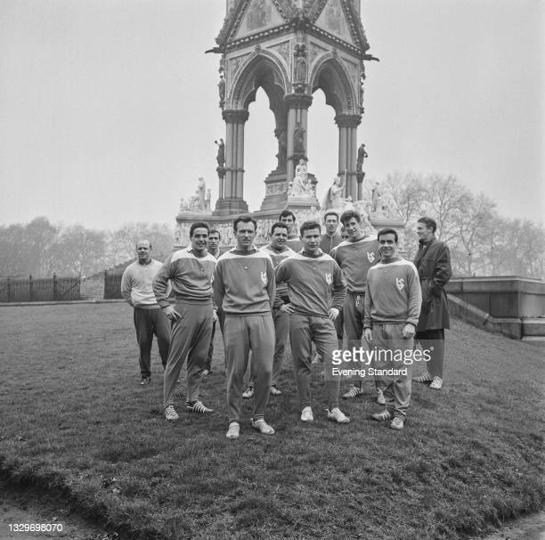 Members of FC Lausanne-Sport pose next to the Albert Memorial in Kensington Gardens, whilst in London for the UEFA European Cup Winners Cup...