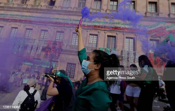 Members of feminist groups at the Plaza de la Nueva Tlaxcala after the decriminalization of abortion was approved in Coahuila on September 7, 2021 in...