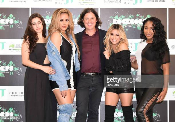 Members of Fifth Harmony Lauren Jauregui Dinah Jane RockCorps CoFounder/CEO Stephen Greene Ally Brooke and Normani Kordei attend the photocall for...