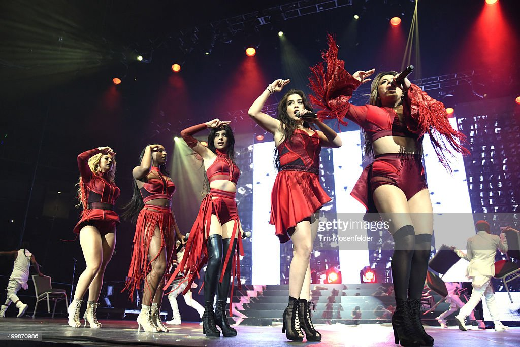 Members of Fifth Harmony Normani Hamilton, Dinah-Jane Hansen, Camila Cabello, Ally Brooke and Lauren Jauregui perform during 99.7 NOW! Triple Ho Show 6.0 at SAP Center on December 2, 2015 in San Jose, California.