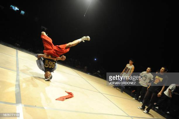 Members of Fighters perform during the Fifth edition of the 'Battle Four by Four' a competition of breakdance on Febrary 24 2013 at Fine Arts theater...