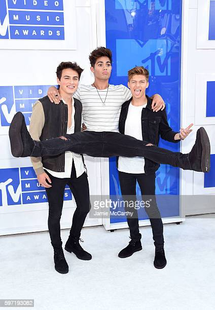 Members of Forever In Your Mind Emery Kelly Ricky Garcia and Liam Attridge attend the 2016 MTV Video Music Awards at Madison Square Garden on August...