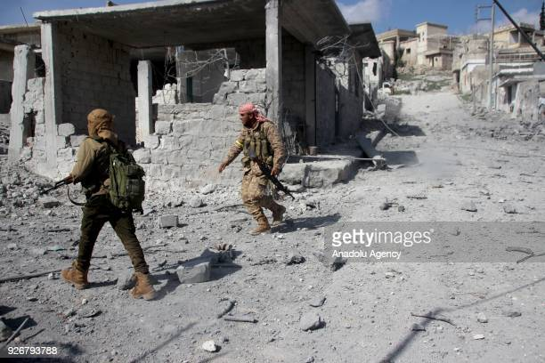Members of Free Syrian Army backed by Turkish Armed Forces are seen at Rajos town center during clashes with a few resisting YPG/ PYD /PKKDaesh...