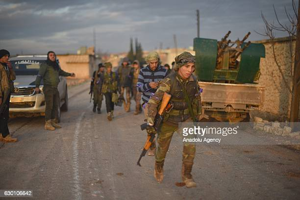 Members of Free Syrian Army move to alBab town of Aleppo during the Operation Euphrates Shield in Syria on December 16 2016