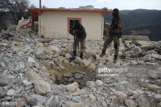 Members of Free Syrian Army patrol the Shadia village as they found new underground tunnels of PYD/PKK terrorists within the 'Operation Olive Branch'...
