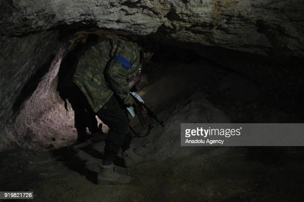 Members of Free Syrian Army search the newly found underground tunnels of PYD/PKK terrorists within the 'Operation Olive Branch' in Shadia village in...