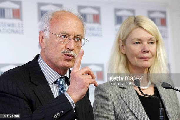 Members of French Parliament, Dominique Orliac and Jean-Louis Touraine give a joint press conference on a bill regarding the research on human...
