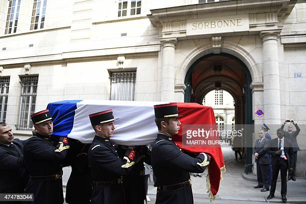 Members of French Republican Guard carrying coffins of four personalities French resistant Genevieve de GaulleAnthonioz French resistant fighter...